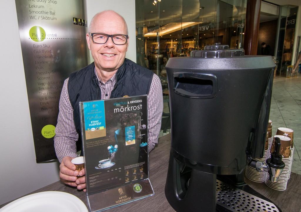 Likt Småstaden så erbjuds kaffe från Arvid Nordqvist även på Röda lyktan i Gallerian.